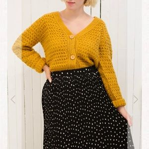 Ozimek Button-Up Yellow Knit Cardigan, small/med
